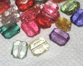 Acrylic Transparent Faceted Emerald Cut Beads 12mm Mixed pack of 20