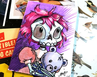 Little Emily - Little Skeleton Girl with Teddy Bear - Sketch Card