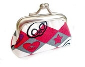 Harlequin Skulls - Tiny Metal Frame Coin Purse