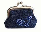 Smiley Blue Whale  - Tiny Kisslock Coin Purse - Rhinestone Crystal Design Work