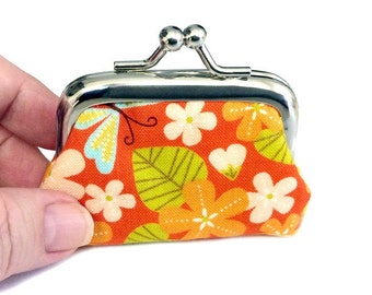 Orange Spring Flowers - Tiny Kisslock Metal Frame Coin Purse