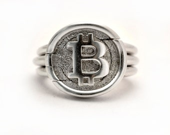 Bitcoin signet puzzle ring    Sterling silver \ Gold    unisex    Bitcoin status ring    Handmade in Israel   