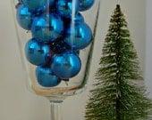 Miniature Shiny Brite Christmas Decorations Ornaments Blue Set of 17