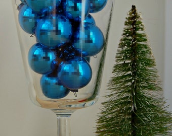 Miniature Shiny Brite Christmas Decorations Ornaments Blue Set of 17