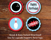 Bowling cupcake toppers, favor tags, stickers, etc., 4 designs, INSTANT DOWNLOAD
