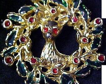 PRECIOUS Little DEER~Christmas Wreath Brooch