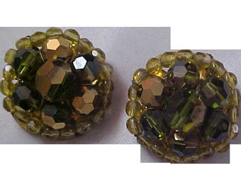SPECTACULAR Cognac & Amber Glass Stones Clip Earrings