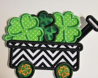 Shamrock Wagon for St. Patricks Day - Iron On Embroidered Applique
