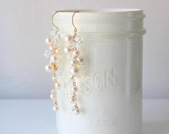 Pearl and Crystal Earrings | Swarovski Bridal Earrings | Pearl Drop Earrings [Stardust Earrings]
