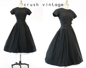50s Suzy Perette Dress Small / 1950s Vintage Black Wool Dress / Stranger in Paradise Dress