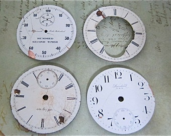 Vintage Antique porcelain pocket Watch Faces - Steampunk - Scrapbooking J23