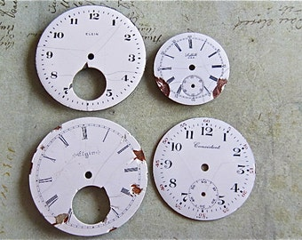 Vintage Antique porcelain pocket Watch Faces - Steampunk - Scrapbooking f81