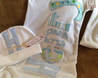 Personalized appliqué infant gown & hat, baby boy layette, initial applique infant hat, boy coming home outfit, baby blue fabrics