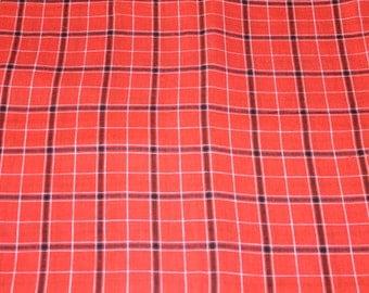 Vintage orange black plaid cotton fabric,orange plaid fabric, cotton fabric, orange fabric, palid fabric,