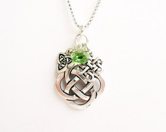 Celtic Necklace, Irish Necklace, Celtic Knot Necklace - with Swarovski Green Crystal - on Sterling Silver Chain