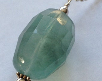 Teal Green Fluorite Gemstone Pendant with Sterling Silver Chain Necklace