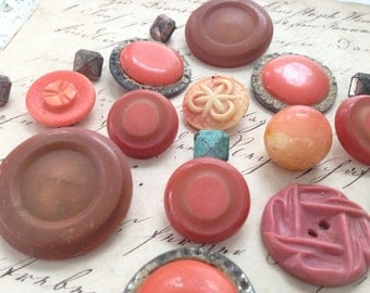 Vintage Buttons, Fashion Buttons, Salvaged, Dessert Sand, Coral, Turquoise, Molded, 1950s