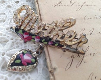 Mother - Vintage Rhinestone Pin