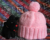 HAND-KNITTED HAT - Pink, Plain Knit, Adult, Pom-Pom
