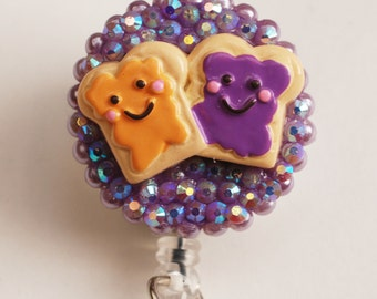 Best Friends Peanut Butter And Jelly Vintage Zipper ID Badge Reel - RN ID Badge Holder - Zipperedheart