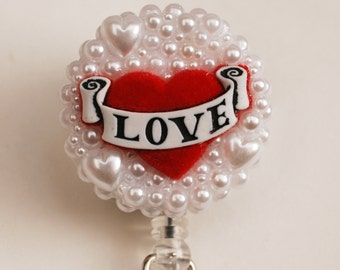 Love Tattoo Style ID Badge Reel - RN ID Badge Holder - Zipperedheart