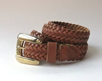 80s vintage Chic Sienna Brown Woven Leather Belt with Gold Metal Buckle