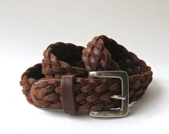 Distressed vintage Dark Cocoa Brown Woven Leather Belt / Made in Guatemala