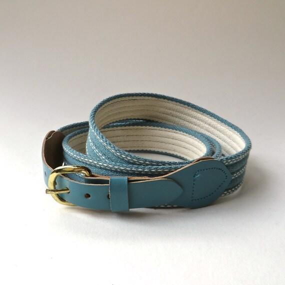vintage Pale Teal Blue Stitched Fabric Belt