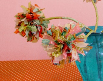 Handmade Fabric Flower with Amazing Colors / Curtain Holder