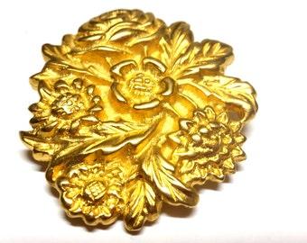 Doreen Ryan Designer Floral Buckle Gold Tone Vintage Flowers