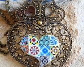 Portugal  Antique Azulejo Tile Replica HuGE  HEART of MINHO Necklace- Individually placed tiles on front and back - Valentine's Day OOAK