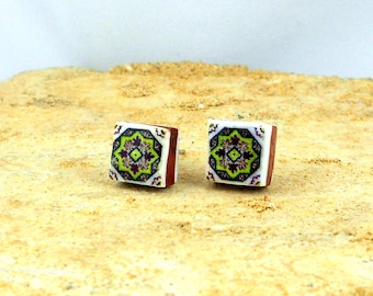 Portugal Antique Azulejo Tile Replica Post Stud Earrings from OVAR Portugal - GREEN (see photo of actual Facade) 531