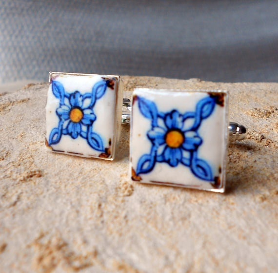 Portugal AZULEJO Antique Tile Replica Cuff links POMBALINE 18th Century (see photo) 17mm Blue Gold
