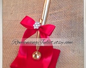 Simple Satin Guestbook and Romantic Satin Guestbook Pen in ivory/scarlett red bows/rhinestones