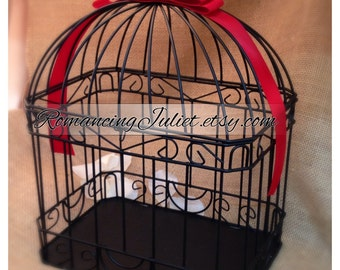 Custom Colors Wedding Card Box Bird Cage...Painted in ANY Color to Match Your Wedding Colors..shown in black/red