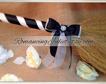 Classic Jump Broom Made in Your Custom Colors with Rhinestone Accent ..shown in black/white/black