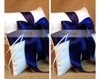Romantic Satin Ring Bearer Pillow...You Choose the Colors...SET OF 2...shown in white/navy blue