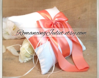 Romantic Satin Ring Bearer Pillow...You Choose the Colors...Buy One Get One Half Off...shown in ivory/peach coral