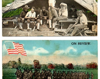 Vintage WWI 2 RPPC MILITARY Postcards Unused Camp Life & Marching Soldiers World War 1 Gray Mountain