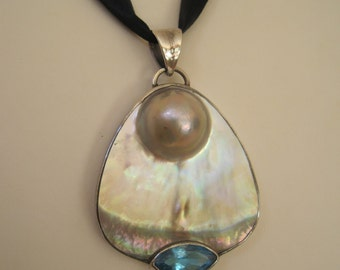 Blister Pearl with Blue Topaz Pendant Set in Sterling Silver Large