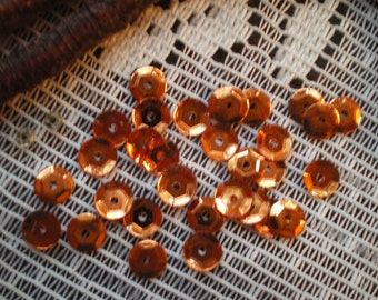 Vintage Burnt Orange Copper Colored Sequins Faceted Cupped 5 mm
