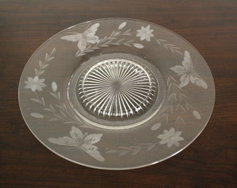Etched Glass Cake Plate with Butterflies