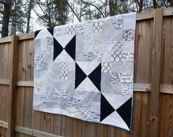 SALe Black Butterfly Quilt, Large Lap Quilt, black and white, cozy comfy modern quilt, READY TO SHIP