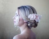 Blush Chiffon Flower Comb