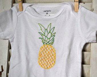 Pineapple Baby Bodysuit Hand Embroidered Fruit Modern Baby Shower Gift