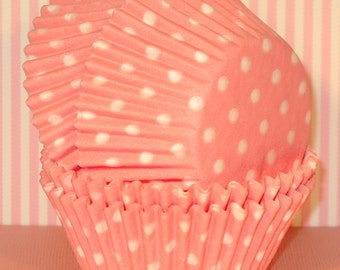 Light Pink Polka Dot Cupcake Liners  (45 Qty)  Pink Polka Dot Cupcake Liners, Pink Polka Dot Baking Cups, Pink Polka Dot Cupcake Wrappers