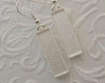 Fused Glass Earrings - Silver Earrings - Dichroic Fused Glass Earrings - Dichroic Earrings - Dichroic Jewelry - Small Earrings X3781