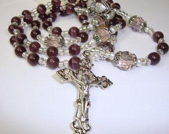 Catholic Rosary, Sacred Heart of Jesus in Purple Cats Eye, Crystal Globes