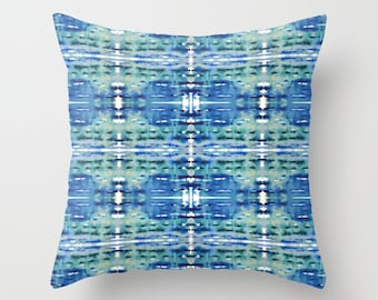 Watercolor pillow cool tones, watercolor art cushion cover, boho pillow cover, tie die look decor, blue sofa pillow, summer poolside pillow