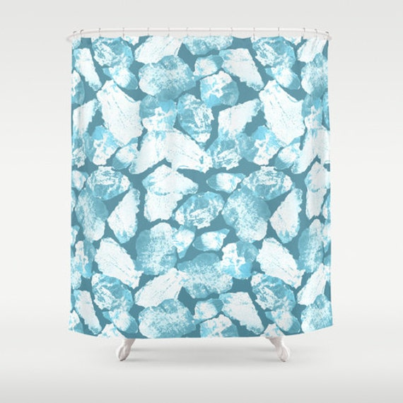Items similar to blue mosaic shower curtain decor modern for Blue mosaic bathroom accessories